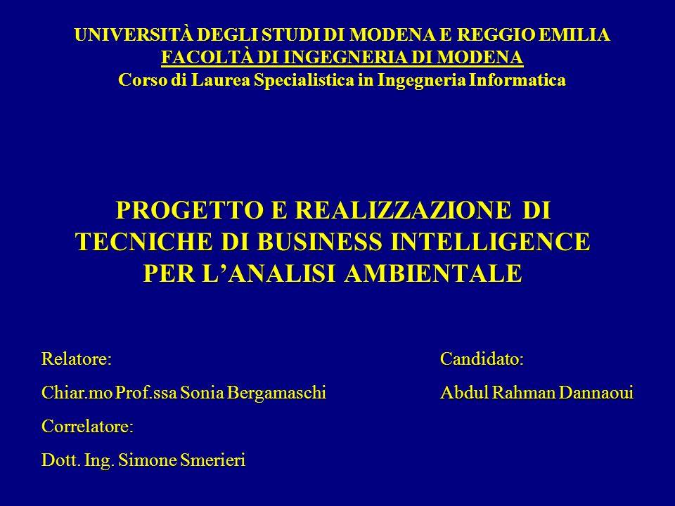 UNIVERSITÀ DEGLI STUDI DI MODENA E REGGIO EMILIA FACOLTÀ DI INGEGNERIA DI MODENA Corso di Laurea Specialistica in Ingegneria Informatica PROGETTO E REALIZZAZIONE DI TECNICHE DI BUSINESS INTELLIGENCE PER LANALISI AMBIENTALE Relatore: Chiar.mo Prof.ssa Sonia Bergamaschi Correlatore: Dott.
