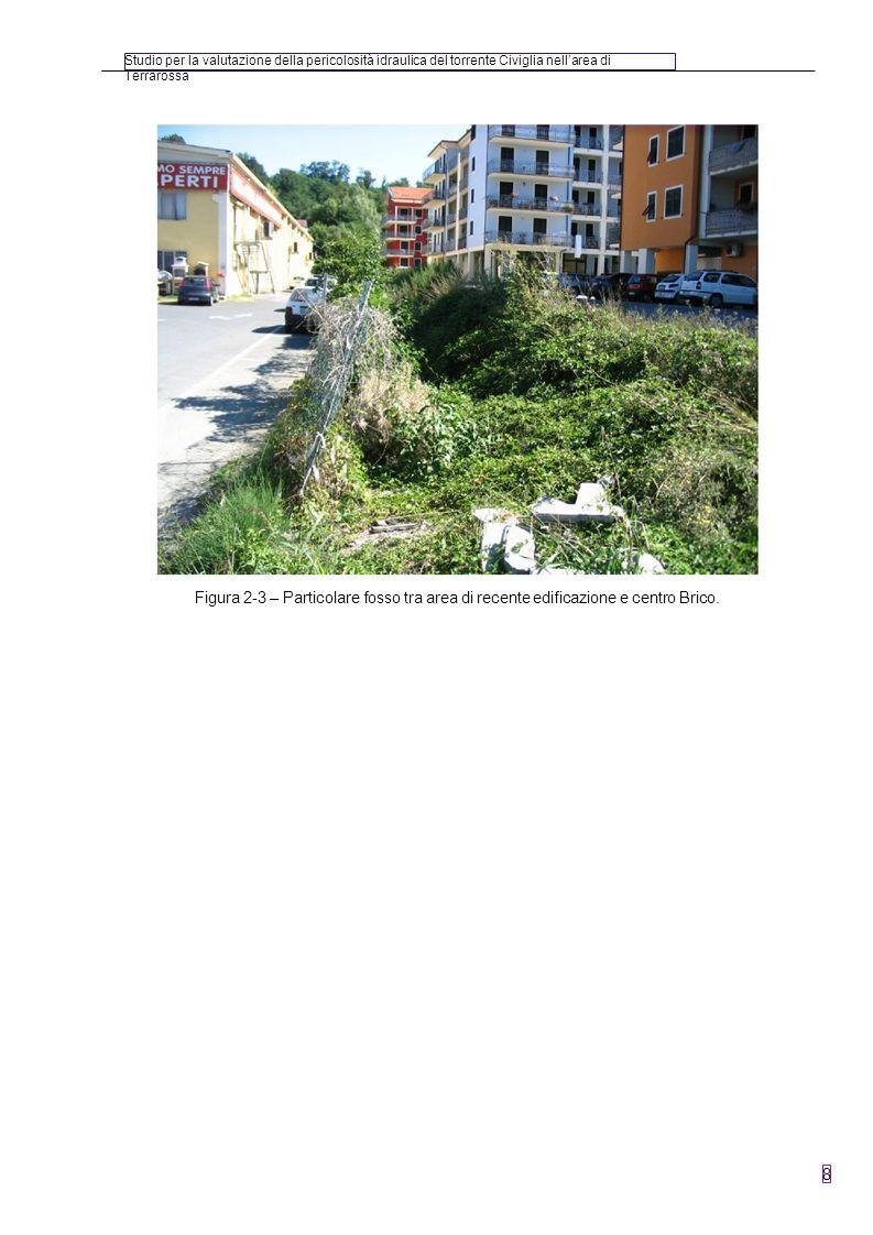 Studio per la valutazione della pericolosità idraulica del torrente Civiglia nellarea di Terrarossa 8 Figura 2-3 – Particolare fosso tra area di recen