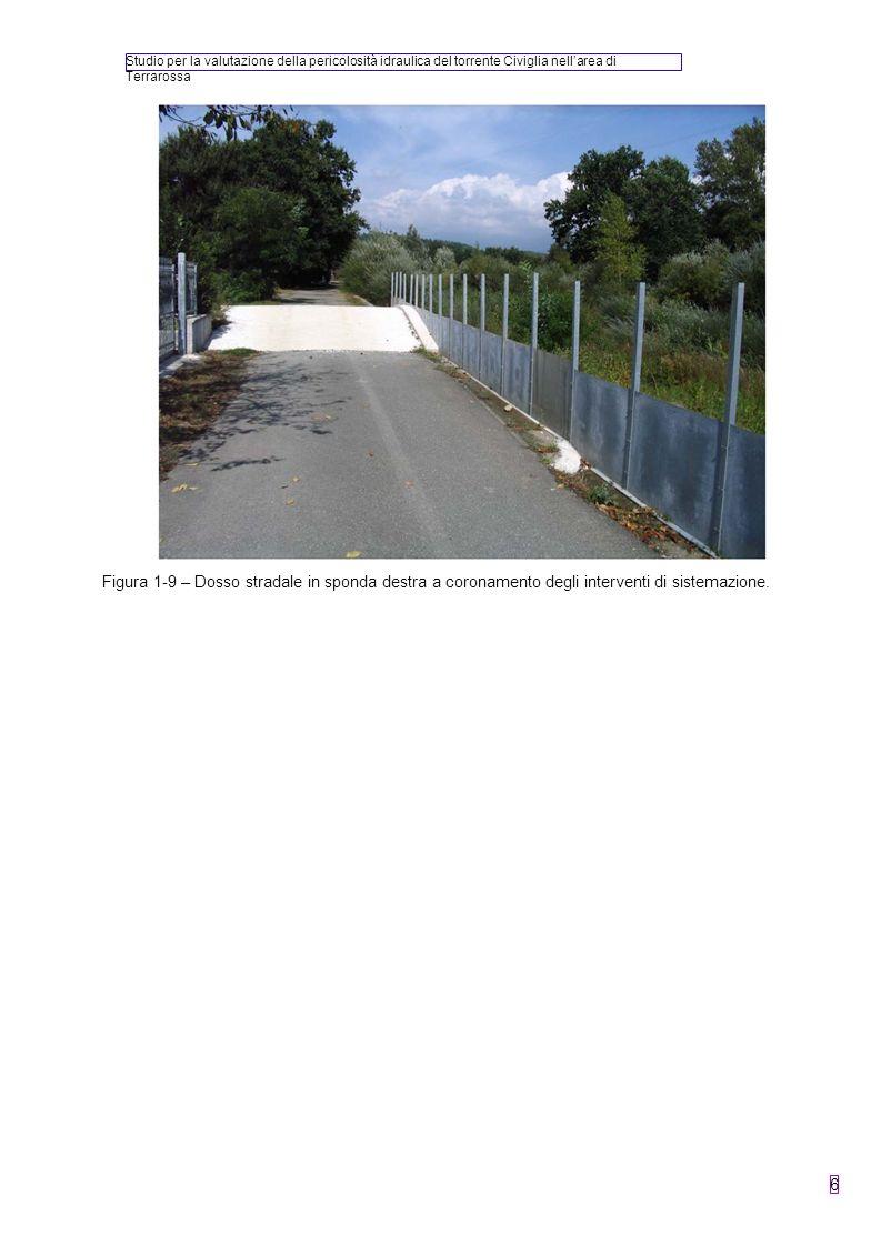 Studio per la valutazione della pericolosità idraulica del torrente Civiglia nellarea di Terrarossa 6 Figura 1-9 – Dosso stradale in sponda destra a c