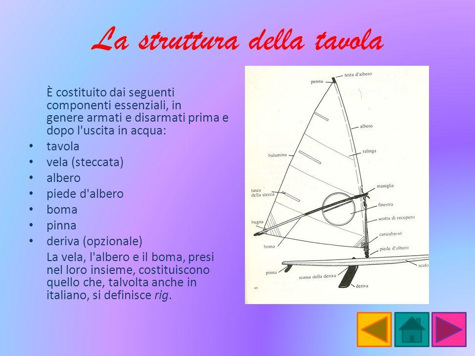 La struttura della tavola È costituito dai seguenti componenti essenziali, in genere armati e disarmati prima e dopo l'uscita in acqua: tavola vela (s