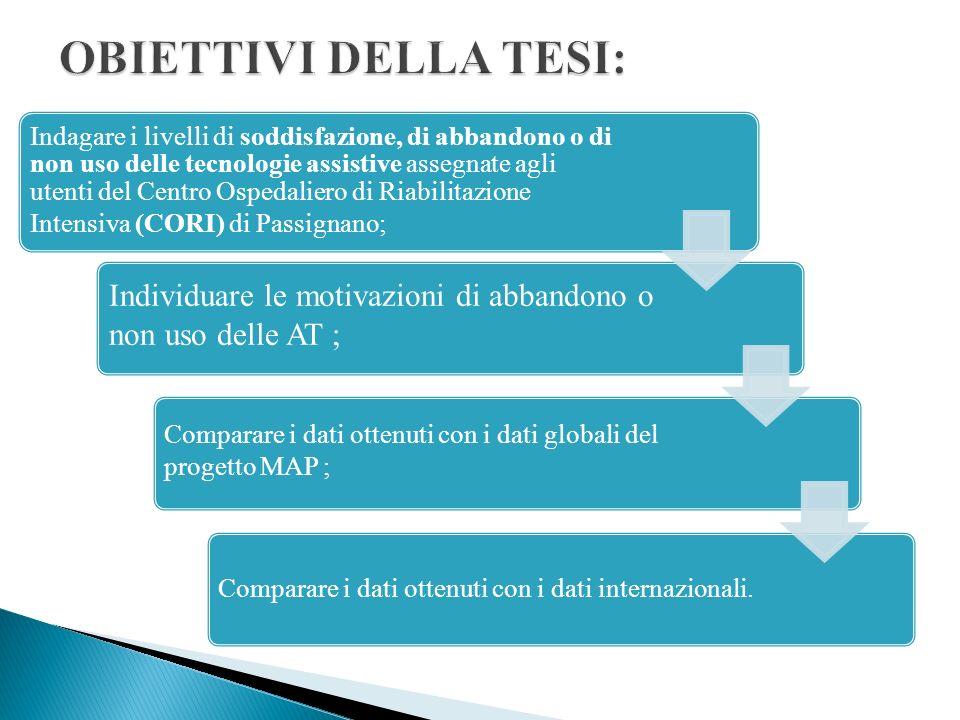 1 Sezione Anamnestica (An): ha lo scopo di identificare il rispondente e la tipologia di ausilio assegnato; 2 Sezione per la valutazione del servizio (ValSer) 3 Sezione per la valutazione della soddisfazione (ValSod): riporta interamente il questionario internazionale QUEST nella sua versione italiana.