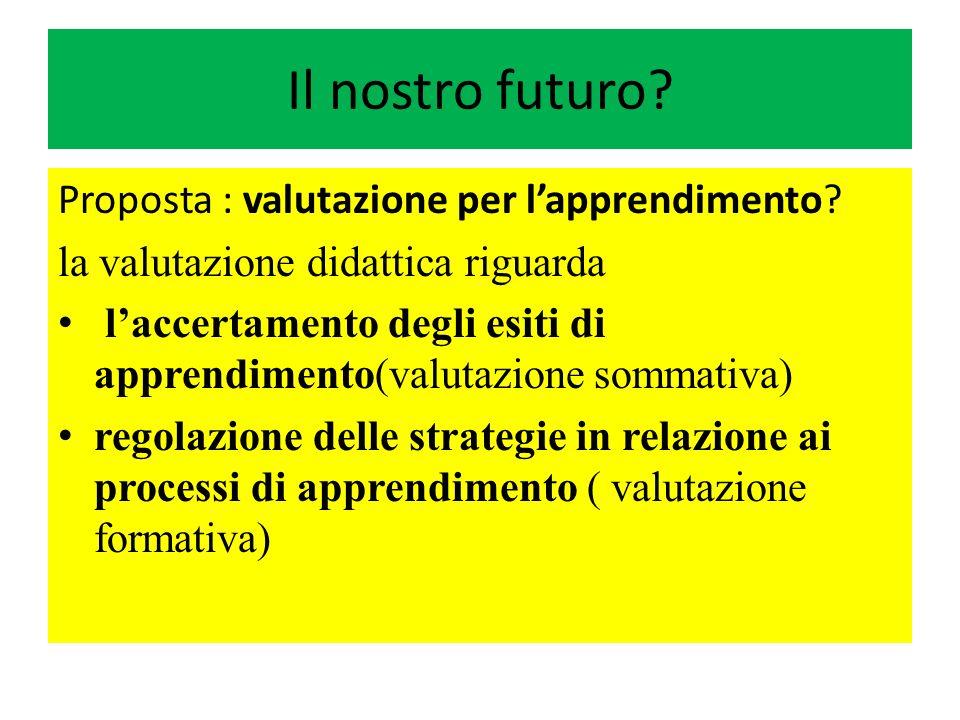 Il nostro futuro? Proposta : valutazione per lapprendimento? la valutazione didattica riguarda laccertamento degli esiti di apprendimento(valutazione