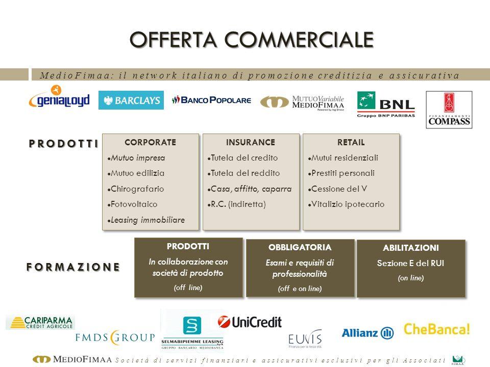 MedioFimaa: il network italiano di promozione creditizia e assicurativa Società di servizi finanziari e assicurativi esclusivi per gli Associati OFFER
