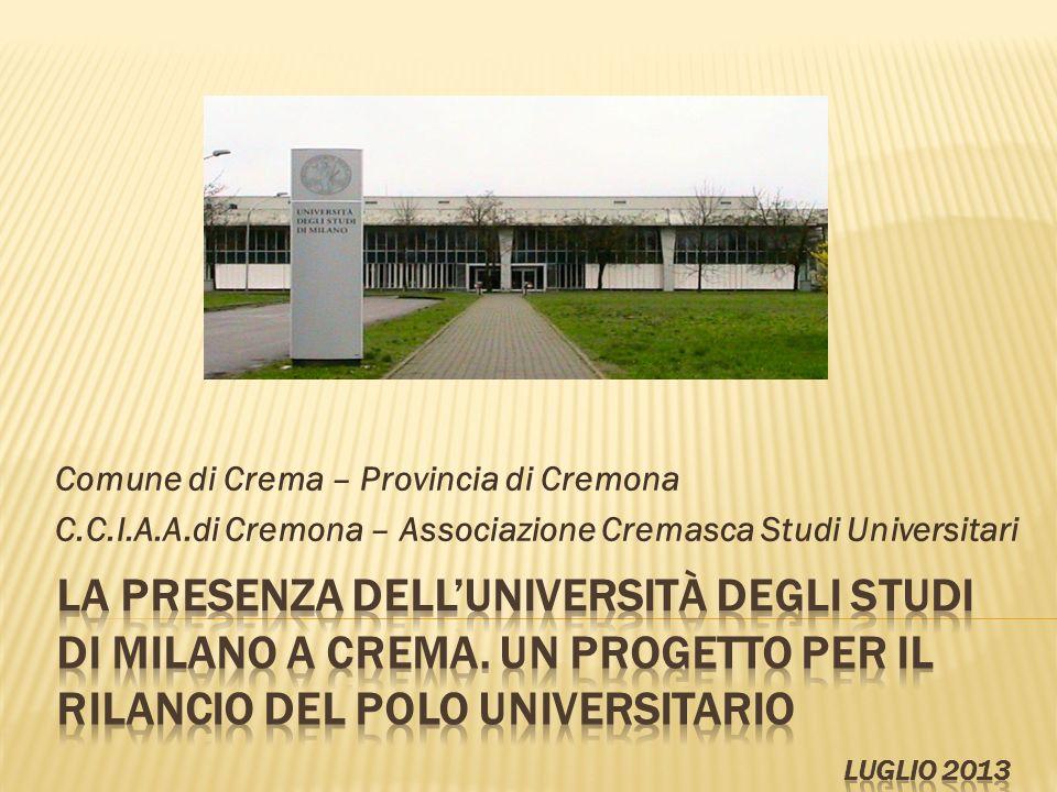 Comune di Crema – Provincia di Cremona C.C.I.A.A.di Cremona – Associazione Cremasca Studi Universitari