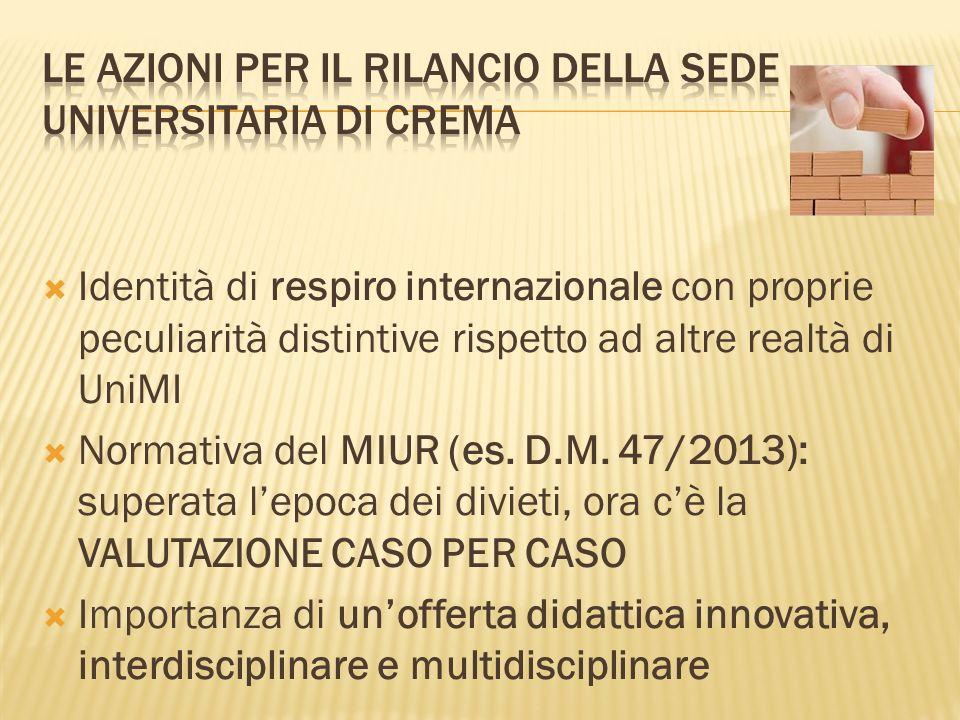 Identità di respiro internazionale con proprie peculiarità distintive rispetto ad altre realtà di UniMI Normativa del MIUR (es.