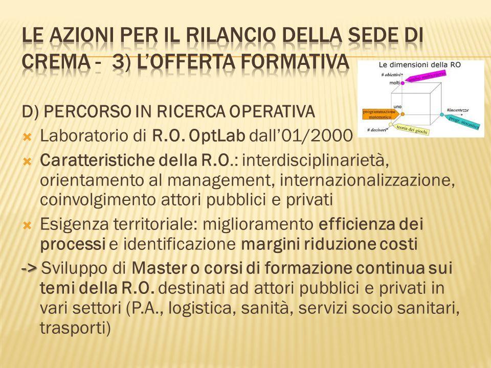 D) PERCORSO IN RICERCA OPERATIVA Laboratorio di R.O.