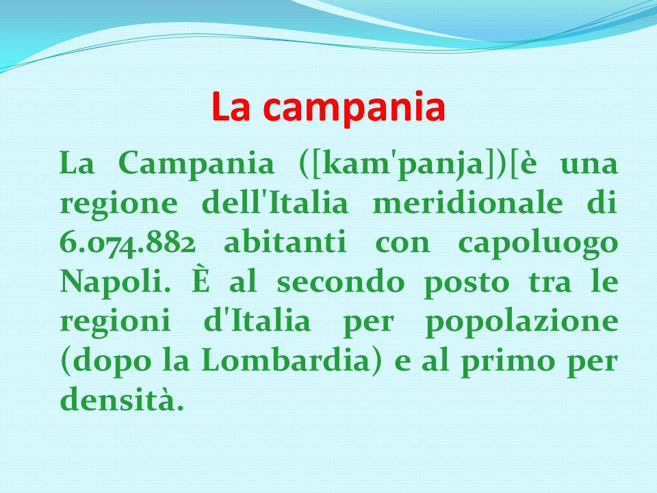 La campania La Campania ([kam panja])[è una regione dell Italia meridionale di 6.074.882 abitanti con capoluogo Napoli.