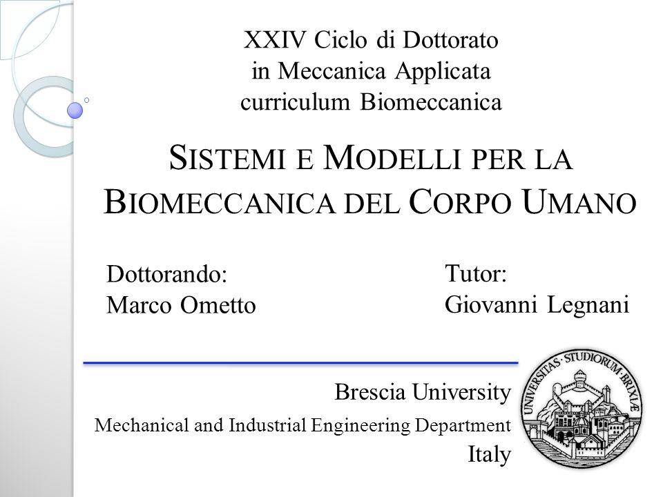 Brescia University Mechanical and Industrial Engineering Department Italy XXIV Ciclo di Dottorato in Meccanica Applicata curriculum Biomeccanica S IST