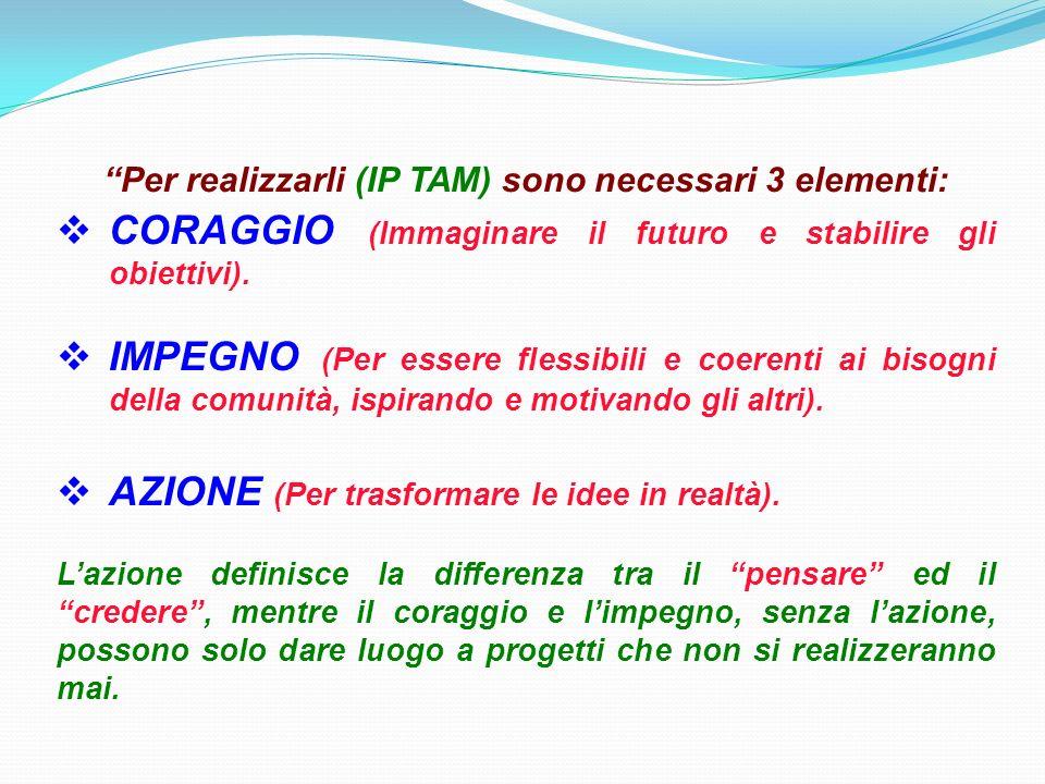 Per realizzarli (IP TAM) sono necessari 3 elementi: CORAGGIO (Immaginare il futuro e stabilire gli obiettivi).