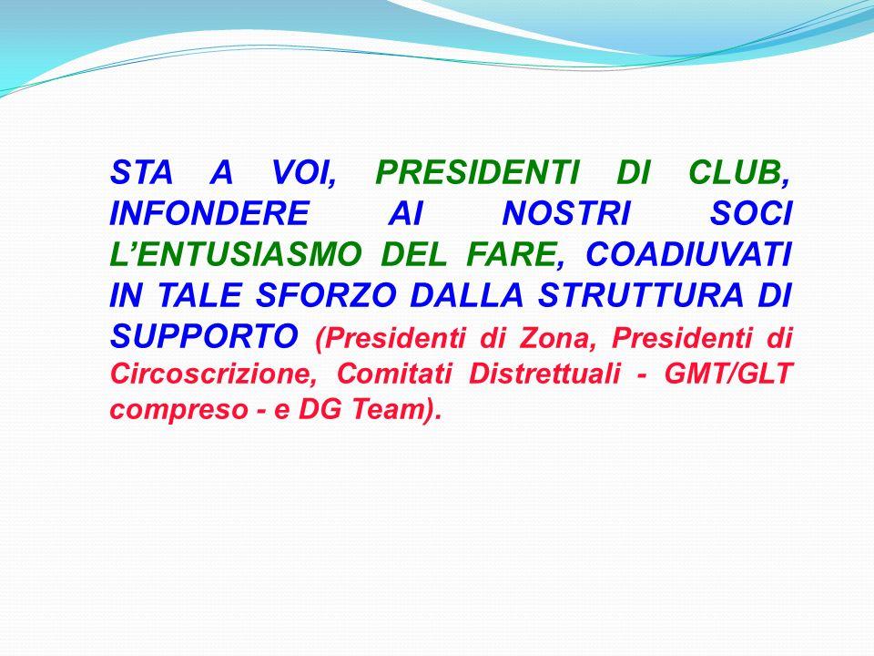 STA A VOI, PRESIDENTI DI CLUB, INFONDERE AI NOSTRI SOCI LENTUSIASMO DEL FARE, COADIUVATI IN TALE SFORZO DALLA STRUTTURA DI SUPPORTO (Presidenti di Zona, Presidenti di Circoscrizione, Comitati Distrettuali - GMT/GLT compreso - e DG Team).