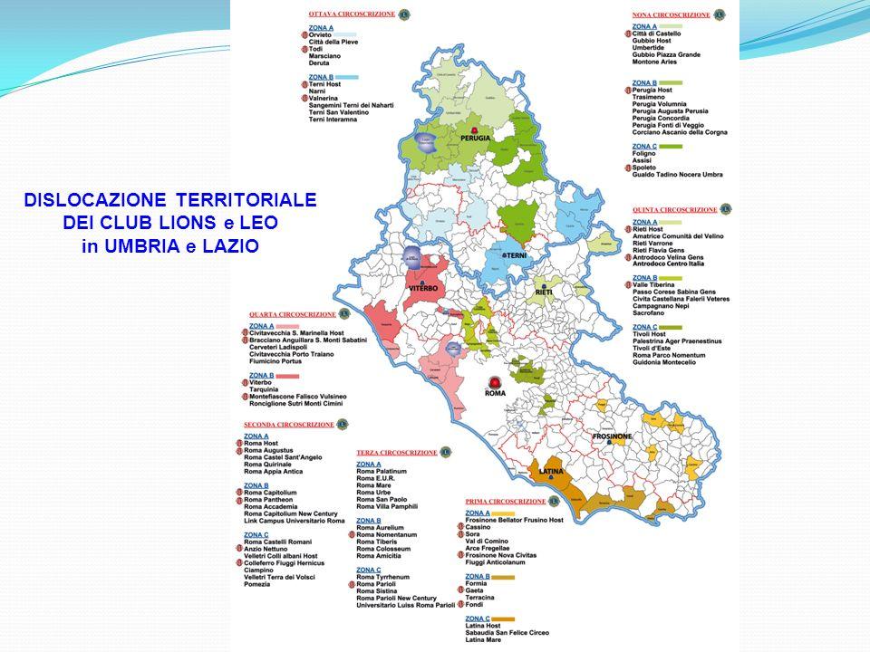 DISLOCAZIONE TERRITORIALE DEI CLUB LIONS e LEO in UMBRIA e LAZIO