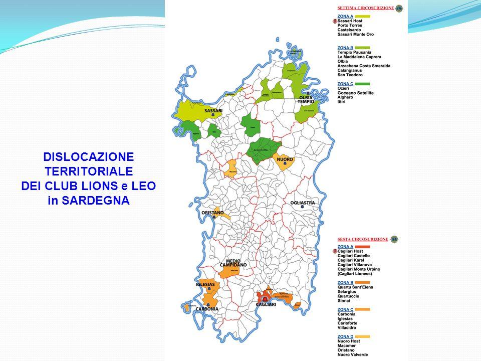 DISLOCAZIONE TERRITORIALE DEI CLUB LIONS e LEO in SARDEGNA