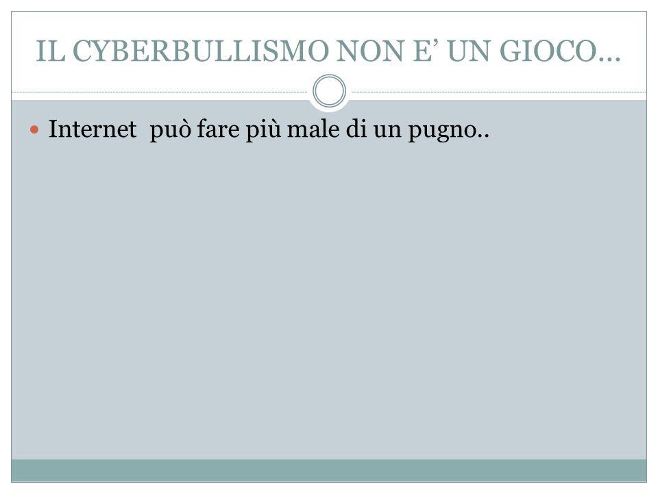 IL CYBERBULLISMO NON E UN GIOCO... Internet può fare più male di un pugno..