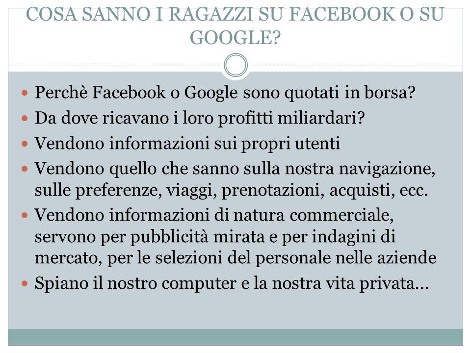 COSA SANNO I RAGAZZI SU FACEBOOK O SU GOOGLE? Perchè Facebook o Google sono quotati in borsa? Da dove ricavano i loro profitti miliardari? Vendono inf