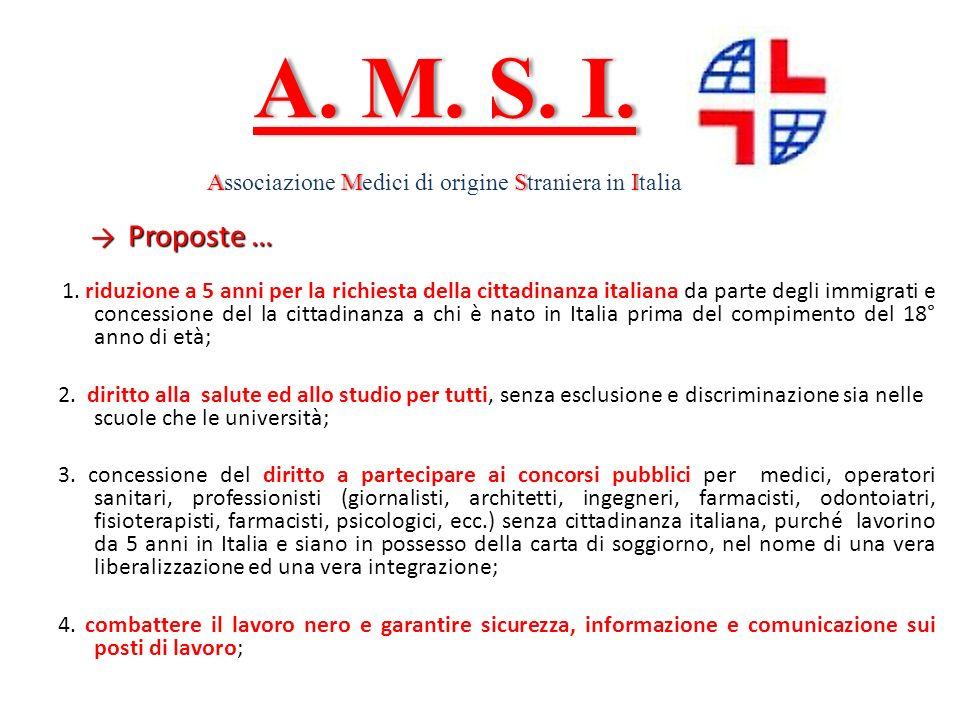 Proposte … Proposte … 1. riduzione a 5 anni per la richiesta della cittadinanza italiana da parte degli immigrati e concessione del la cittadinanza a