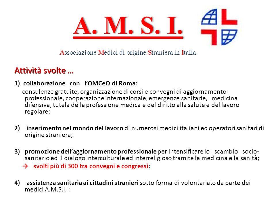 Attività svolte … 1) collaborazione con lOMCeO di Roma: consulenze gratuite, organizzazione di corsi e convegni di aggiornamento professionale, cooper