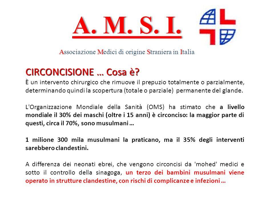 A. M. S. I.A. M. S. I. AMSIAssociazione Medici di origine Straniera in Italia CIRCONCISIONE … Cosa è? È un intervento chirurgico che rimuove il prepuz