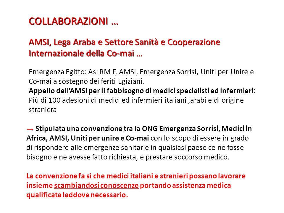 COLLABORAZIONI … AMSI, Lega Araba e Settore Sanità e Cooperazione Internazionale della Co-mai … Emergenza Egitto: Asl RM F, AMSI, Emergenza Sorrisi, U