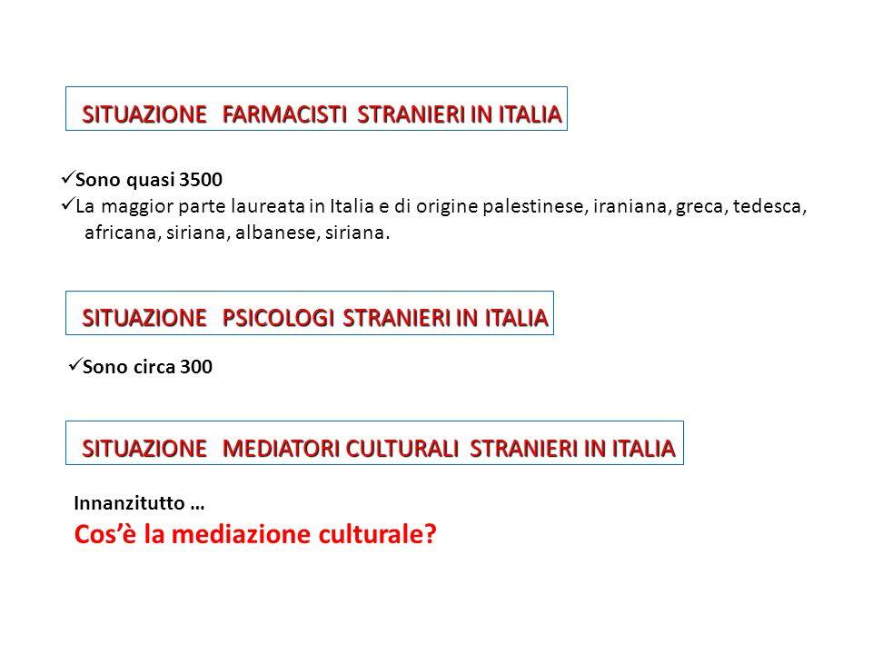 SITUAZIONE FARMACISTI STRANIERI IN ITALIA SITUAZIONE FARMACISTI STRANIERI IN ITALIA Sono quasi 3500 La maggior parte laureata in Italia e di origine p