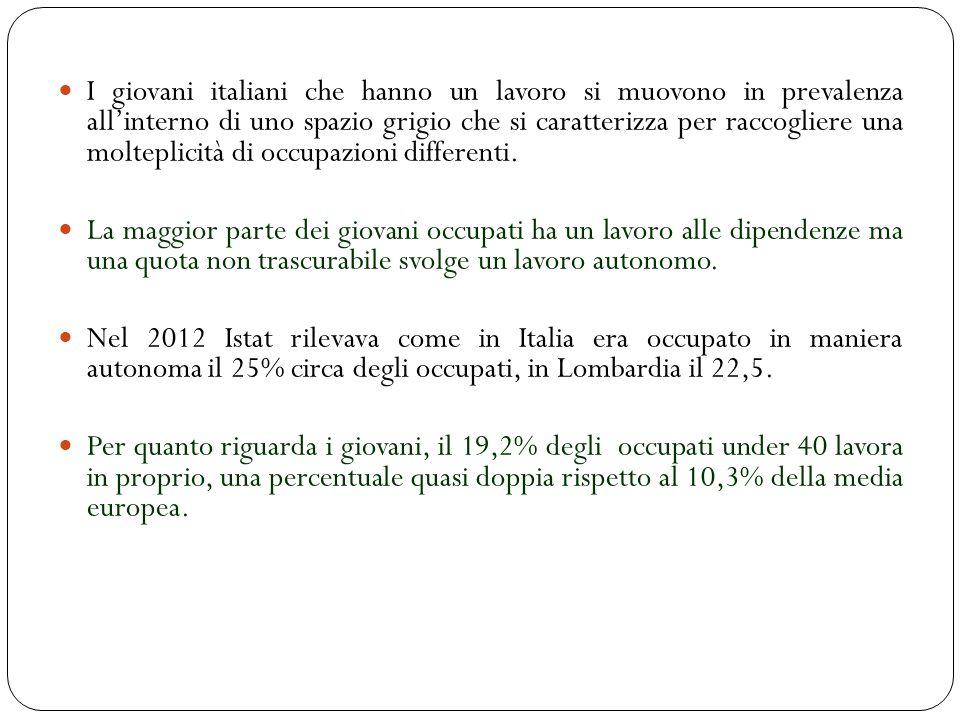 I giovani italiani che hanno un lavoro si muovono in prevalenza allinterno di uno spazio grigio che si caratterizza per raccogliere una molteplicità di occupazioni differenti.
