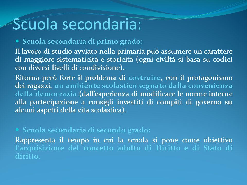 Scuola secondaria: Scuola secondaria di primo grado: Il lavoro di studio avviato nella primaria può assumere un carattere di maggiore sistematicità e