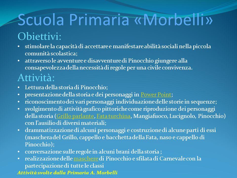 Scuola Primaria «Morbelli» Obiettivi: stimolare la capacità di accettare e manifestare abilità sociali nella piccola comunità scolastica; attraverso l