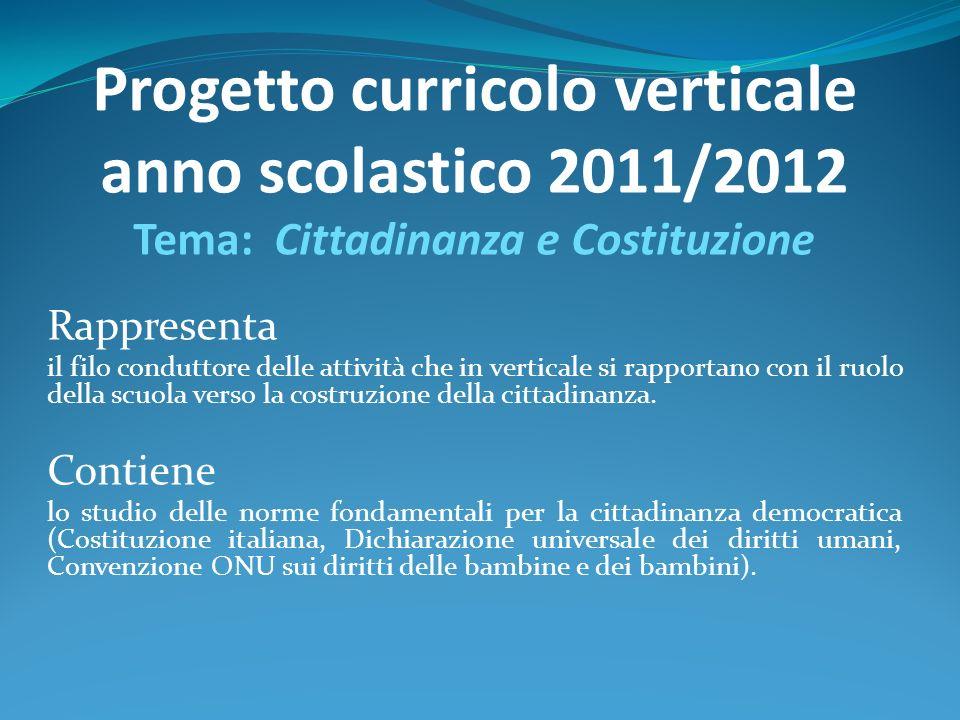 Progetto curricolo verticale anno scolastico 2011/2012 Tema: Cittadinanza e Costituzione Rappresenta il filo conduttore delle attività che in vertical