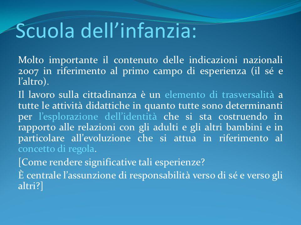 Scuola dellinfanzia: Molto importante il contenuto delle indicazioni nazionali 2007 in riferimento al primo campo di esperienza (il sé e laltro). Il l