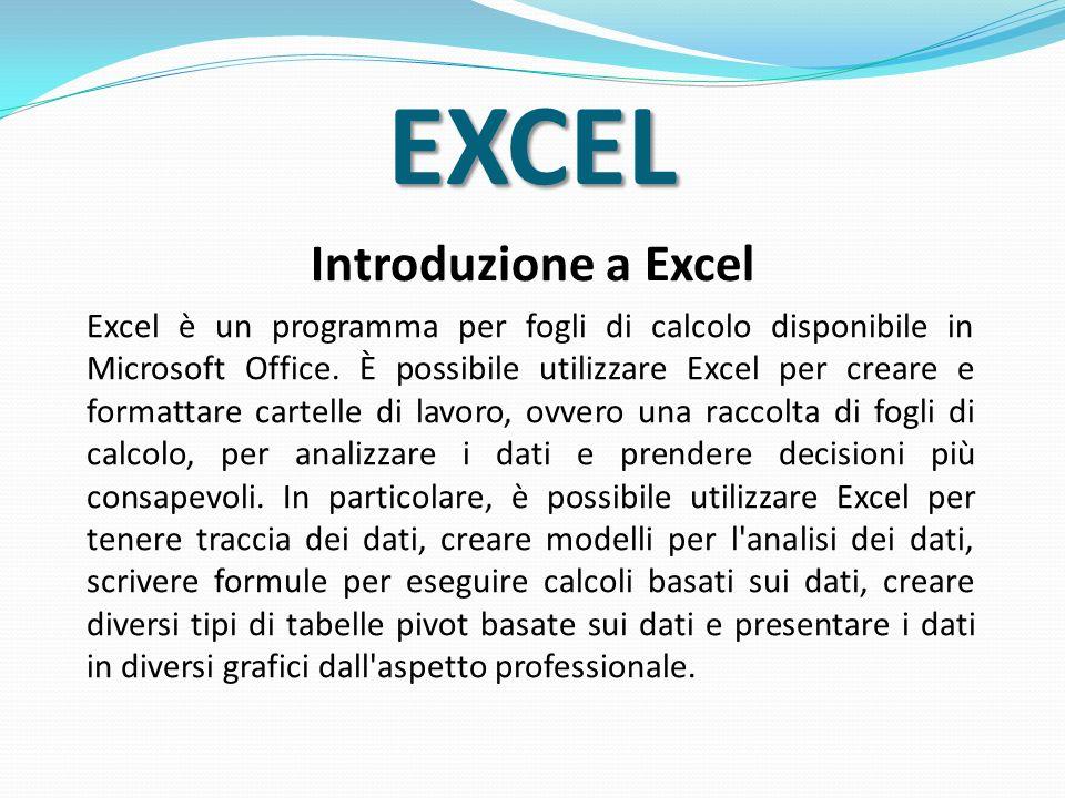 EXCEL Introduzione a Excel Excel è un programma per fogli di calcolo disponibile in Microsoft Office. È possibile utilizzare Excel per creare e format