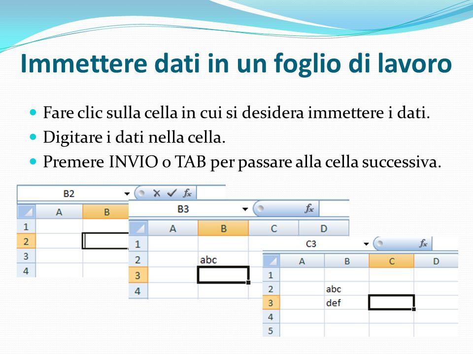 Immettere dati in un foglio di lavoro Fare clic sulla cella in cui si desidera immettere i dati. Digitare i dati nella cella. Premere INVIO o TAB per