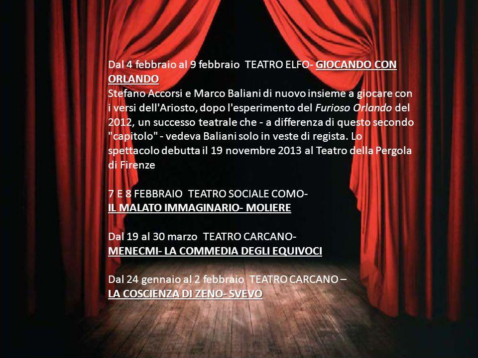GIOCANDO CON ORLANDO Dal 4 febbraio al 9 febbraio TEATRO ELFO- GIOCANDO CON ORLANDO Stefano Accorsi e Marco Baliani di nuovo insieme a giocare con i v