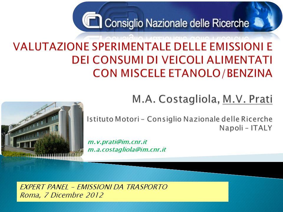 …..sulluso delletanolo Combustibili, veicoli e test Risultati e considerazioni EXPERT PANEL – EMISSIONI DA TRASPORTO STRADALE Roma, 7 Dicembre 2012