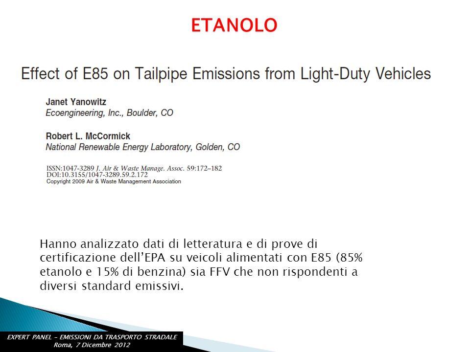 ETANOLO Hanno analizzato dati di letteratura e di prove di certificazione dellEPA su veicoli alimentati con E85 (85% etanolo e 15% di benzina) sia FFV