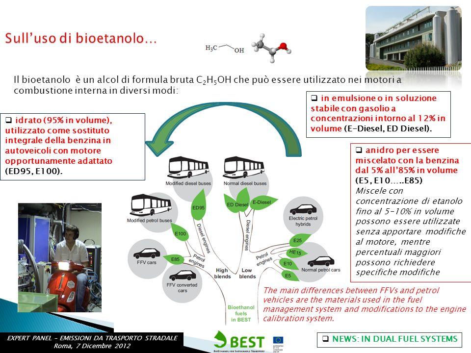 Il bioetanolo è un alcol di formula bruta C 2 H 5 OH che può essere utilizzato nei motori a combustione interna in diversi modi: anidro per essere mis