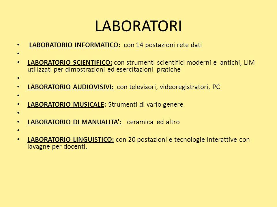 LABORATORI LABORATORIO INFORMATICO: con 14 postazioni rete dati LABORATORIO SCIENTIFICO: con strumenti scientifici moderni e antichi, LIM utilizzati p
