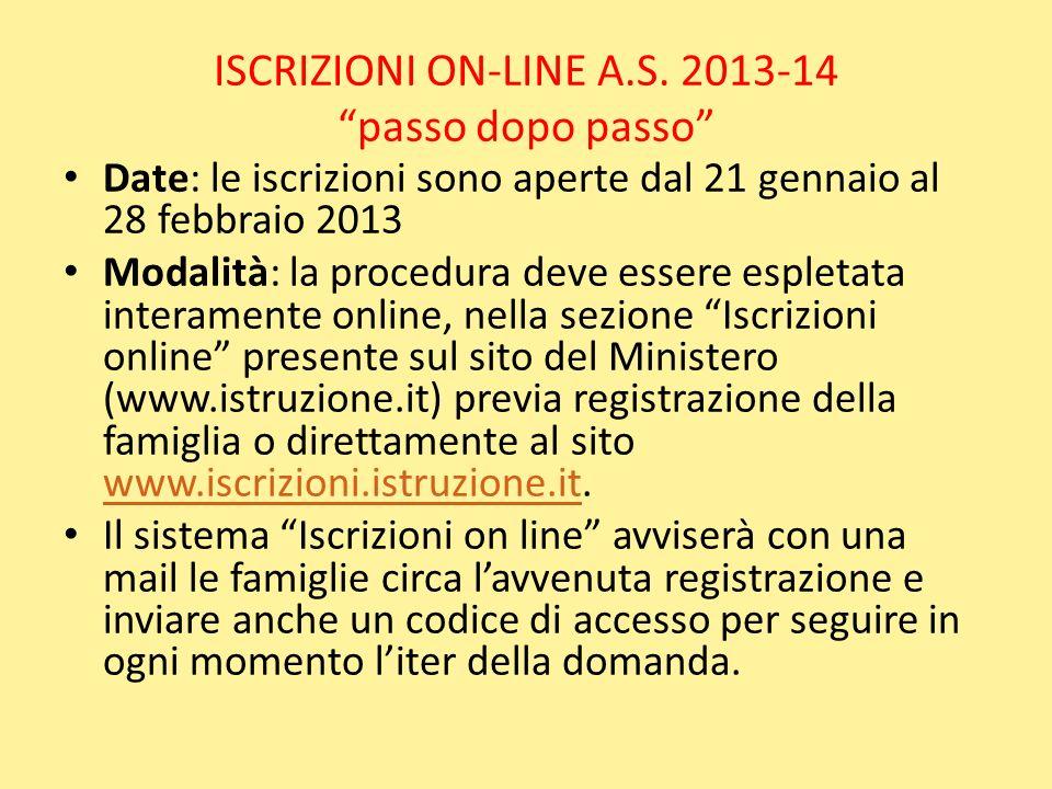 ISCRIZIONI ON-LINE A.S. 2013-14 passo dopo passo Date: le iscrizioni sono aperte dal 21 gennaio al 28 febbraio 2013 Modalità: la procedura deve essere