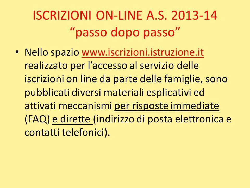 ISCRIZIONI ON-LINE A.S. 2013-14 passo dopo passo Nello spazio www.iscrizioni.istruzione.it realizzato per laccesso al servizio delle iscrizioni on lin