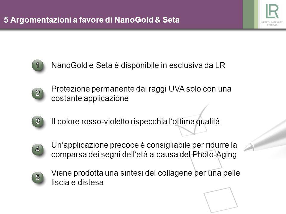 4 5 Argomentazioni a favore di NanoGold & Seta NanoGold e Seta è disponibile in esclusiva da LR Il colore rosso-violetto rispecchia lottima qualità Un