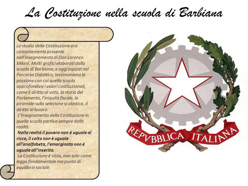 La Costituzione nella scuola di Barbiana Lo studio della Costituzione era costantemente presente nellinsegnamento di Don Lorenzo Milani. Molti grafici