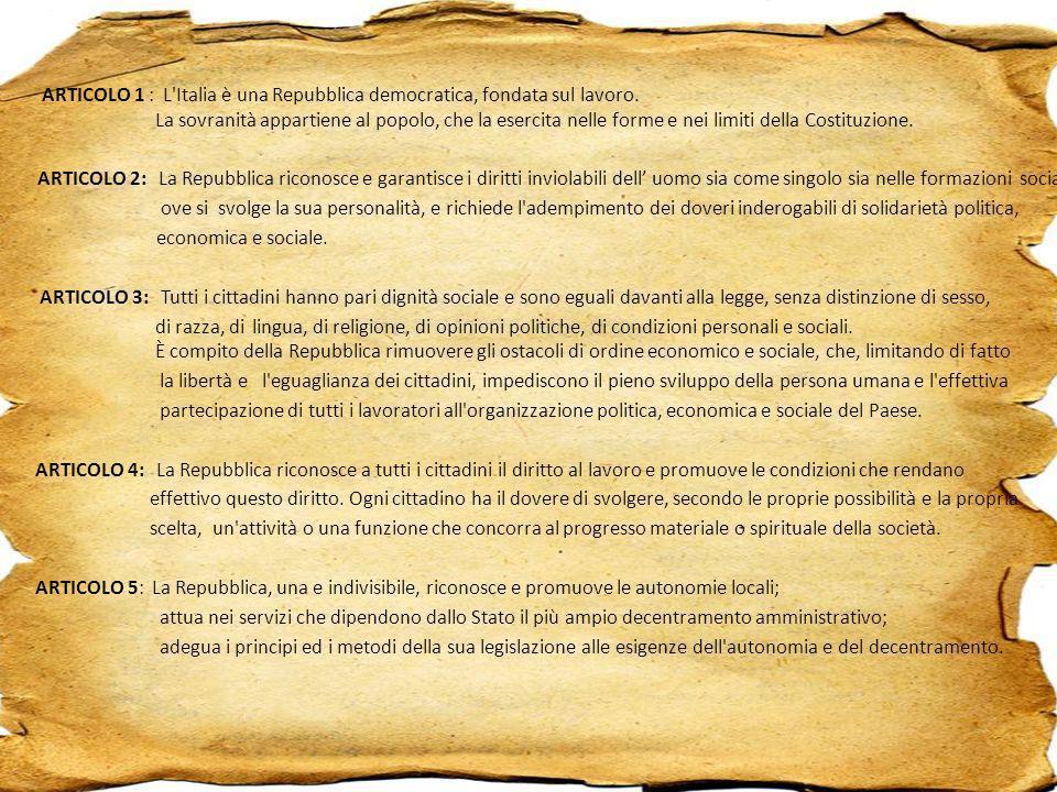 ARTICOLO 1 : L'Italia è una Repubblica democratica, fondata sul lavoro. La sovranità appartiene al popolo, che la esercita nelle forme e nei limiti de