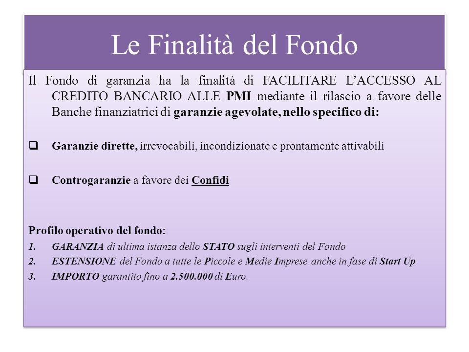 Le Finalità del Fondo Il Fondo di garanzia ha la finalità di FACILITARE LACCESSO AL CREDITO BANCARIO ALLE PMI mediante il rilascio a favore delle Banc