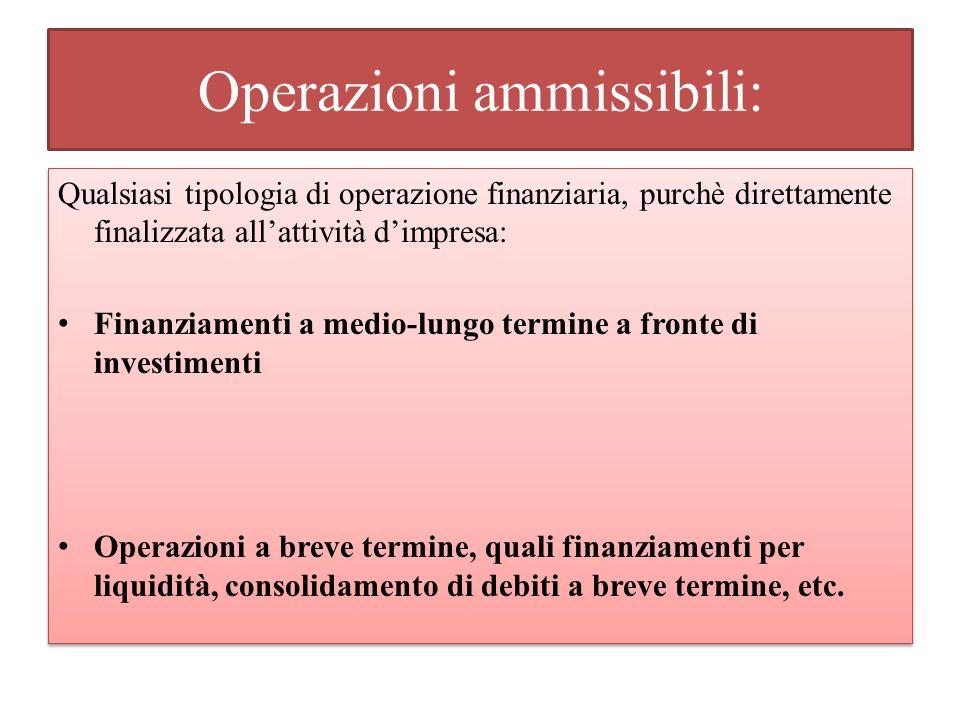 Operazioni ammissibili: Qualsiasi tipologia di operazione finanziaria, purchè direttamente finalizzata allattività dimpresa: Finanziamenti a medio-lun