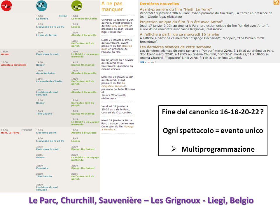 Fine del canonico 16-18-20-22 ? Ogni spettacolo = evento unico Multiprogrammazione Le Parc, Churchill, Sauvenière – Les Grignoux - Liegi, Belgio