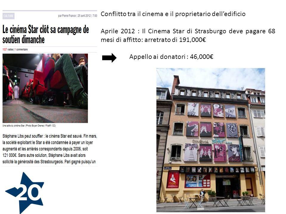 Conflitto tra il cinema e il proprietario delledificio Aprile 2012 : Il Cinema Star di Strasburgo deve pagare 68 mesi di affitto: arretrato di 191,000 Appello ai donatori : 46,000