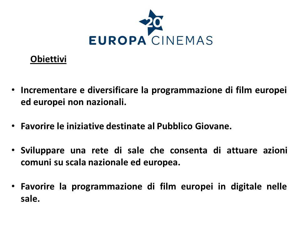 Incrementare e diversificare la programmazione di film europei ed europei non nazionali. Favorire le iniziative destinate al Pubblico Giovane. Svilupp