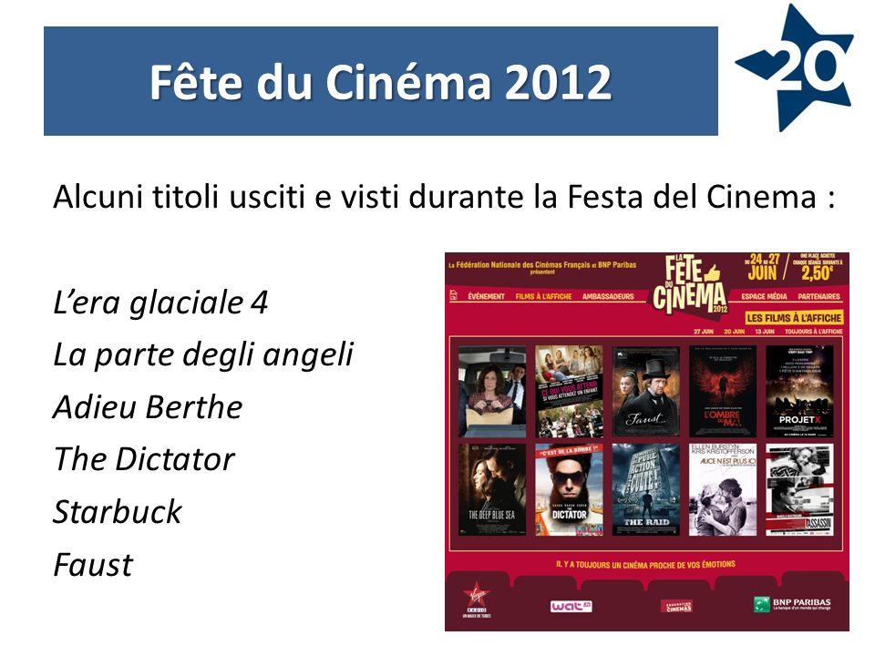 Alcuni titoli usciti e visti durante la Festa del Cinema : Lera glaciale 4 La parte degli angeli Adieu Berthe The Dictator Starbuck Faust Fête du Cinéma 2012