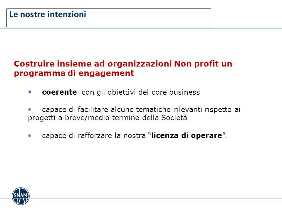 Le nostre intenzioni Costruire insieme ad organizzazioni Non profit un programma di engagement coerente con gli obiettivi del core business capace di