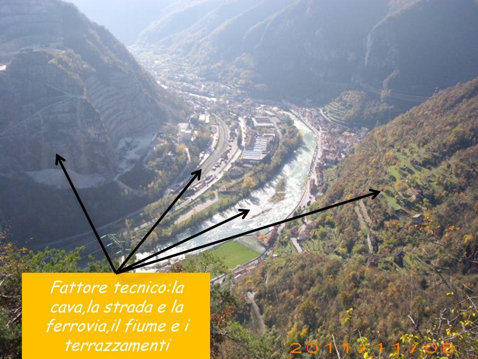 Fattore tecnico:la cava,la strada e la ferrovia,il fiume e i terrazzamenti