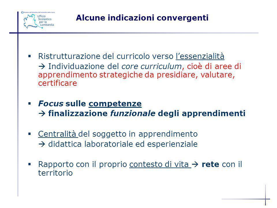 Ristrutturazione del curricolo verso lessenzialità Individuazione del core curriculum, cioè di aree di apprendimento strategiche da presidiare, valuta