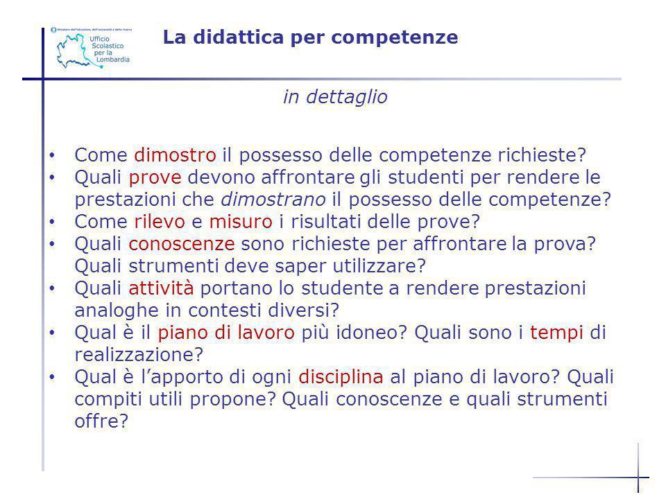 La didattica per competenze in dettaglio Come dimostro il possesso delle competenze richieste? Quali prove devono affrontare gli studenti per rendere